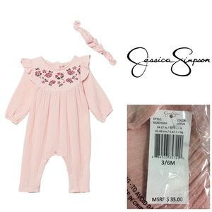 🆕JESSICA SIMPSON BABY - PINK JUMPSUIT 3-6M - NWT